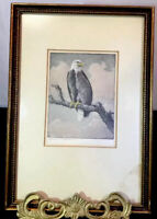 Benson Bond Moore BALD EAGLE Artist SIGNED Colored Etching 10X7