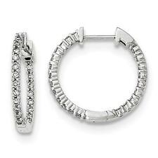 14k White Gold Genuine Diamonds 0.50ct G-SI1 Inside Out Design Hoop Earrings