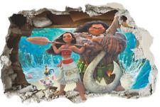 Moana Maui Hei Hei and Pua Scene Wall Breaking Wall Decal / Decorative Sticker