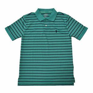 Polo Ralph Lauren Boys Performance Polo Shirt Green Striped M (10-12) Damaged