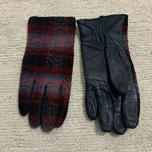 Dorothy Perkins Gloves M/L Leather Tweed Knit Check Navy Red Black Women's