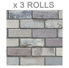Brick Effect Wallpaper Rustic Slate Stone Weathered Natural Colours Arthouse x 3
