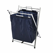 Blue Clothes Laundry Cart Basket Hamper with Removable Laundry Bag Handle Chrome