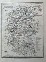 1848 Wiltshire Original Antique Hand Coloured County Map 172 Years Old