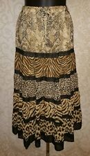 Alfred Dunner Animal Print Tiered Boho Gyspy Peasant Skirt Sz 10 #2839
