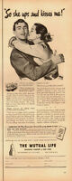 1951 Vintage ad for The Mutual Life Insurance Co./Art/Couple/Kisses (071113)