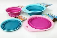 Plastic Collapsible Pet Bowl Dish 500ml for Cat Dog Collapses to 2cm Pink Blue