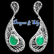 925 Sterling Silver Marcasite & Agate Petal Earrings
