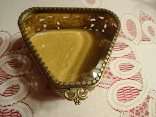 VIntage Beveled Glass Triangle Shape Gold Tone Filigree Ormolu Jewelry Box