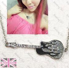 Flame Electric Guitar Colgante Collar Cadena black&silver Esmalte Blanco Oro pltd