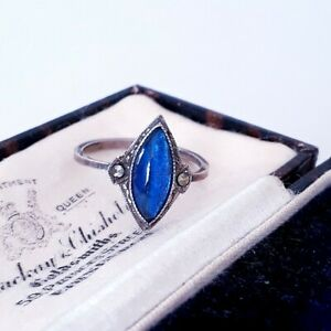 VINTAGE GLOWING TEARDROP BLUE BUTTERFLY WING & SPARKLING MARCASITE SIZE R RING