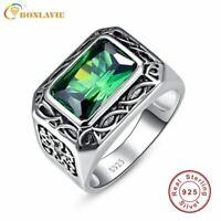 Fine 6.8Ct Nano Emerald Ring For Men Solid 925 Sterling Sliver Jewelry Engagemen