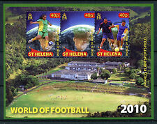 St Helena 2010 MNH World of Football 3v M/S Soccer Sports Stamps