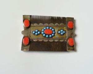 Antique central Asian Turkmen tribal silver turquoise comb