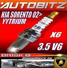 For KIA SORENTO 3.5 V6 2002> BRISK SPARK PLUGS X6 YYTRIUM FAST DESPATCH