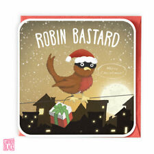 Funny Christmas Card, Xmas Card, Pun Christmas Robin Bastard