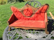 Vintage Antique Salesman Sample Settee / Couch Red Fabric Wood Or Child's Toy
