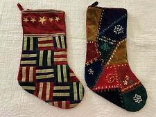 """Vintage Chenille Christmas Stockings Lot Of 2 18"""" x 9"""" #43"""