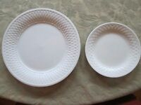 Lot 2 Plates ONEIDA WEAVE White Raised Basket Woven Rim - 1 Salad 1 Dinner HTF