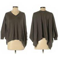 b. chyll Sz S Slouchy V Neck Oversized Asymmetric Hem Sweater Dolman Sleeve