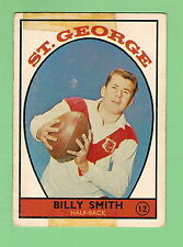 1968 SERIES 1 SCANLENS RUGBY LEAGUE CARD #12  BILLY SMITH, ST GEORGE DRAGONS
