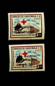 GUATEMALA RED CROSS WORLD REFUGEE YEAR OVPT 2v MNH STAMPS