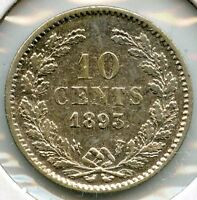Netherlands 1893 Silver Coin - 10 Cents - AD206