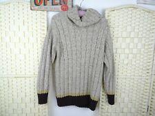 ESPIRIT unisex wool blend cable aran chunky roll neck stripe jumper S/M PB190