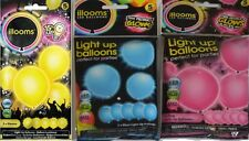 illooms Light Up LED Balloons - Pack of 5 Yellow, Pink and Blue Glowing Balloons