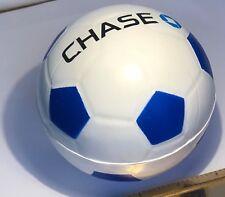 "CHASE BANK 4"" DIAMETER FOAM RUBBER SOCCER BALL BLUE & WHITE CHASE LOGO FREE SHIP"