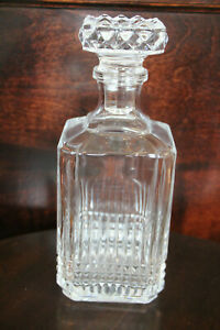 Vintage Clear Glass Decanter with Stopper Heavy
