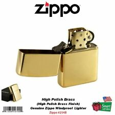 Zippo High Polish Brass Lighter, w/o Solid Brass Engraving, USA Windproof #254B