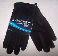Men's 5314 ISOTONER Medium Black SMART TOUCH Gloves Fleece Lined NEW $55