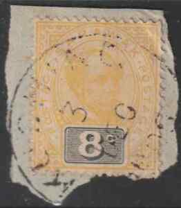 (A136)SARAWAK POST MARK 1899 8c USED WITH FULL KUCHING T2 CDS ON PIECE