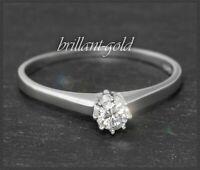 Antiker Diamant Brillant Solitär Ring mit 0,20ct in River E & Si1, 585 Weißgold