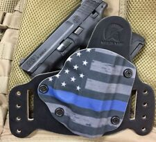 "SA XDs 3.3"" 45/9 IWB/OWB Morph Hybrid Holster, Thin Blue Line Kydex, leather, RH"
