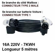 Câble Borne Recharge Wallbox Voiture électrique Type 2 => Type 1 - 5 mètres 16A