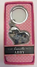ABBY Camille heart silver color personalized KEYCHAIN BRAND NEW IN PACKAGE