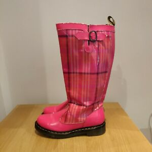Dr Martens Nellie Welly Style Pink Patent Leather Festival Wide Boots Size Uk 4