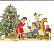 Antique style Die Cut Scrap Hand Glittered Christmas Tree Scrapbook projects
