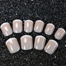 Short Acrylic French Nails Shiny Beige White False Nail Art Tips Daily Wear Z448