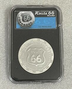 Route 66 - 1oz Fine Silver Round in Quickslab