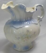 """vintage Arnel's pottery pitcher white ceramic blue floral USA 1975 FLAW 8"""" tall"""