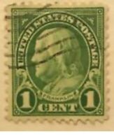 RARE 1 Cent Lime Green Ben Franklin STAMP Postal