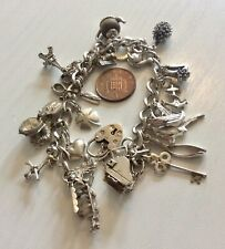Super Quality Ladies Vintage Heavy Solid Silver Charm Bracelet & Lots of Charms