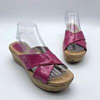 BOC Born Concept C68812 Women Pink Patent Slip On Sandal Shoe Size 7M Pre Owned