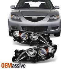 Fit 4 Door Sedan 2004 09 Mazda 3 Black Projector Left Right Side Headlights Fits Mazda 3