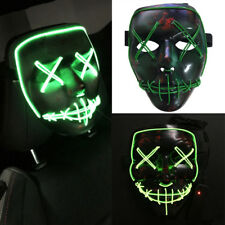 The Purge Movie EL Wire LED Rave Face Mask Halloween Party Costume Cosplay Props