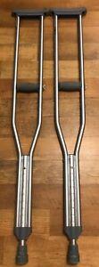 "Aluminum Lightweight Pair Of Crutches Adjustable User Height 5'2""-5'10 Gaurdian"