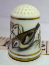 Plectrophenax Nivalis Snow Bunting Bird Porcelain Thimble 1979 Vintage